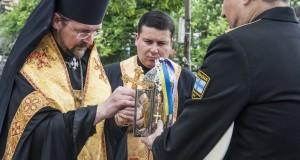 Єпископ Богдан (Дзюрах) на Майдані Незалежності очолив молитву для військової делегації, що вирушає на 56-е Міжнародне військове паломництво до Люрду